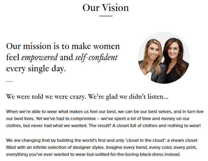 """Rent The Runway know how to relate to their women clientele with such snippets as """"a closet full of clothes and nothing to wear!""""."""