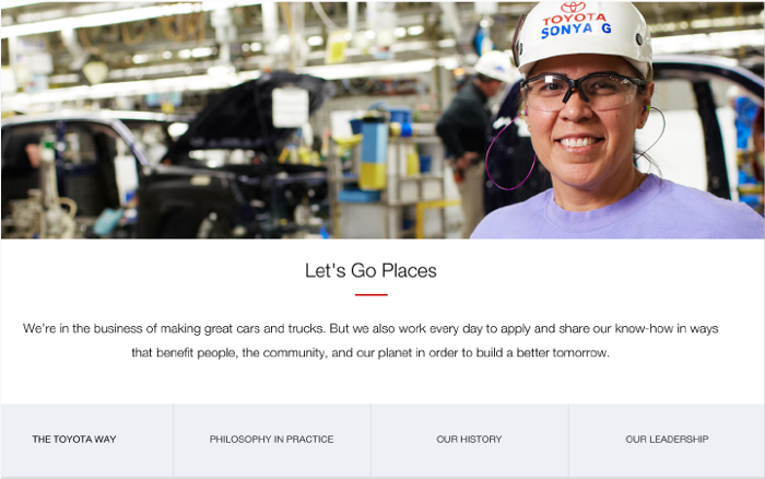 Toyota puts one of their staff prominently on their About page instead of their cars.