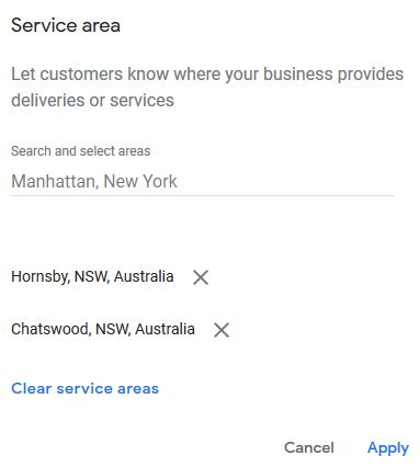 Adding service areas to Google My Business page