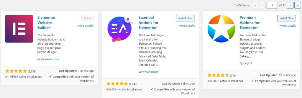 Elementor plugins in WordPress repositary