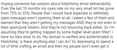 Question on Facebook about email deliverability