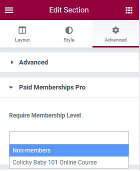 Paid Memberships Pro Elementor integration